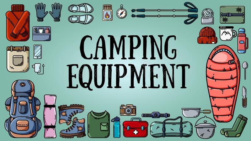Bandeira de acampamento do equipamento com grupo de artigos do turista ilustração do vetor