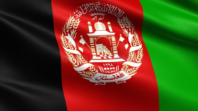 Bandeira de Afeganistão, com textura de ondulação da tela foto de stock royalty free