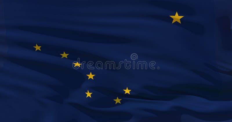 Bandeira de Alaska na textura de seda, Estados Unidos da América Ilustração 3d detalhada de alta qualidade ilustração royalty free