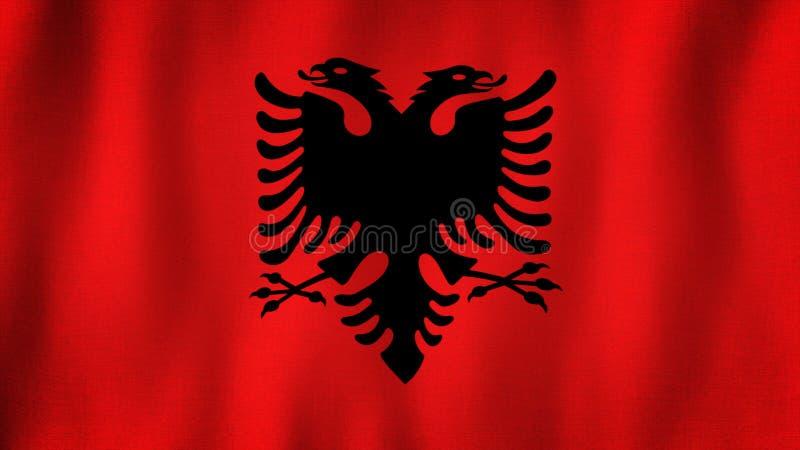Bandeira de Albânia que acena no vento Close up da bandeira albanesa realística com textura altamente detalhada da tela ilustração do vetor