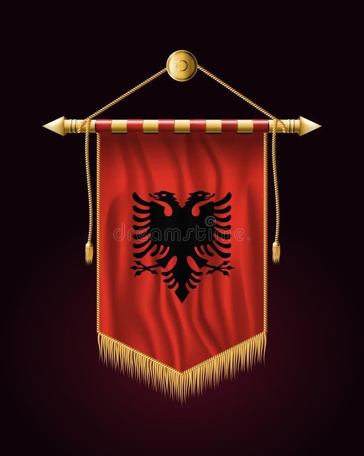 bandeira de Albânia Bandeira vertical festiva Tapeçaria ilustração royalty free