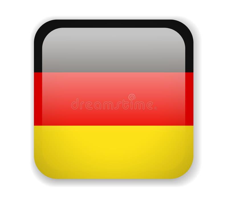Bandeira de Alemanha Ícone quadrado brilhante em um fundo branco ilustração royalty free