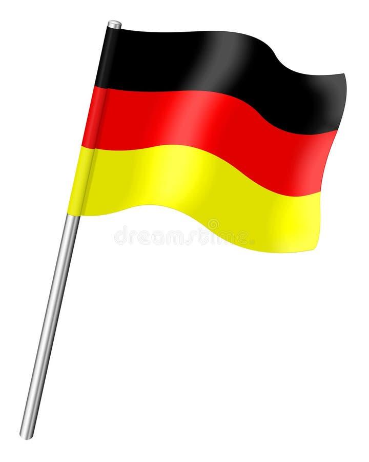 Bandeira de Alemanha em um fundo branco ilustração stock