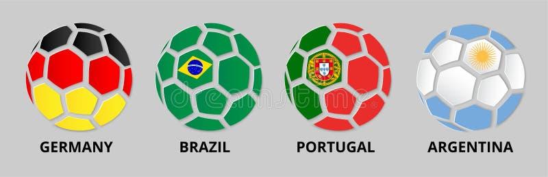 Bandeira de Alemanha, Portugal, Brasil, Argentina com bolas de futebol ilustração royalty free