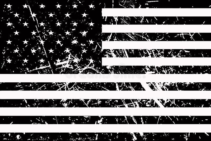 A bandeira de América é preto e branco e gasto ilustração do vetor