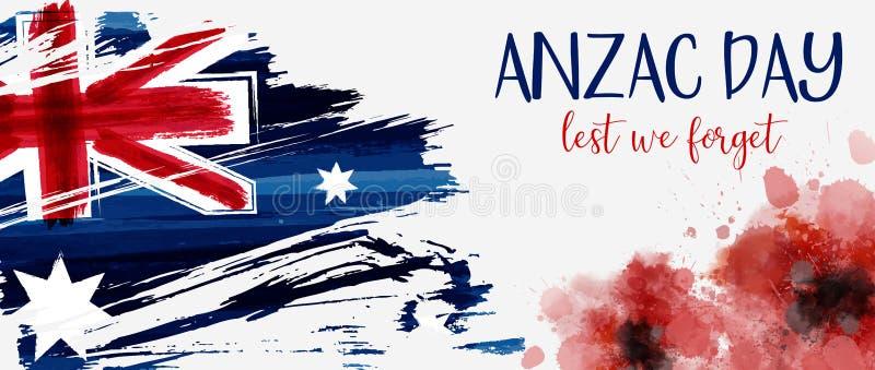 Bandeira de Anzac Day ilustração do vetor
