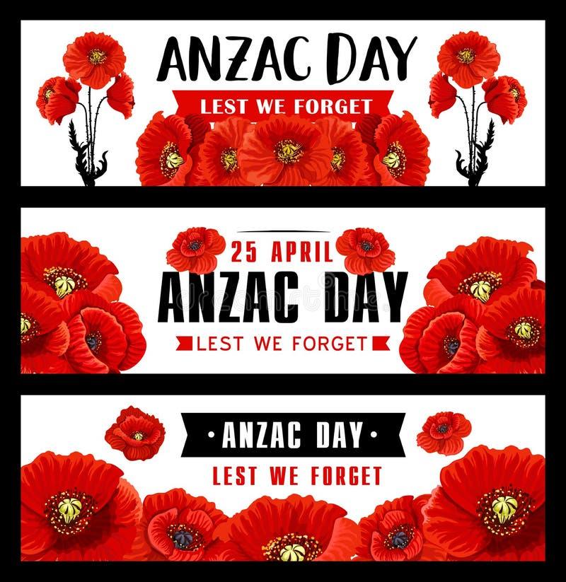 Bandeira de Anzac Remembrance Day com a flor vermelha da papoila ilustração royalty free