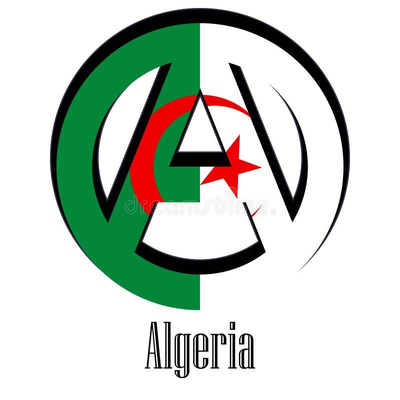 Bandeira de Argélia do mundo sob a forma de um sinal da anarquia ilustração royalty free