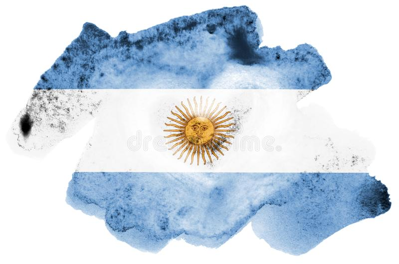 A bandeira de Argentina é descrita no estilo líquido da aquarela isolada no fundo branco foto de stock royalty free