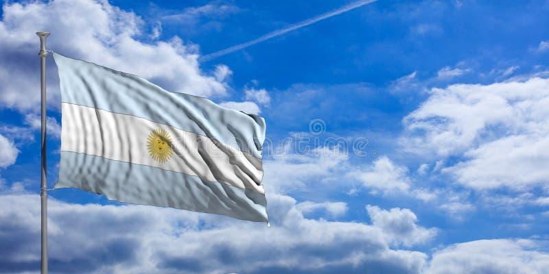 Bandeira de Argentina em um fundo do céu azul ilustração 3D ilustração do vetor