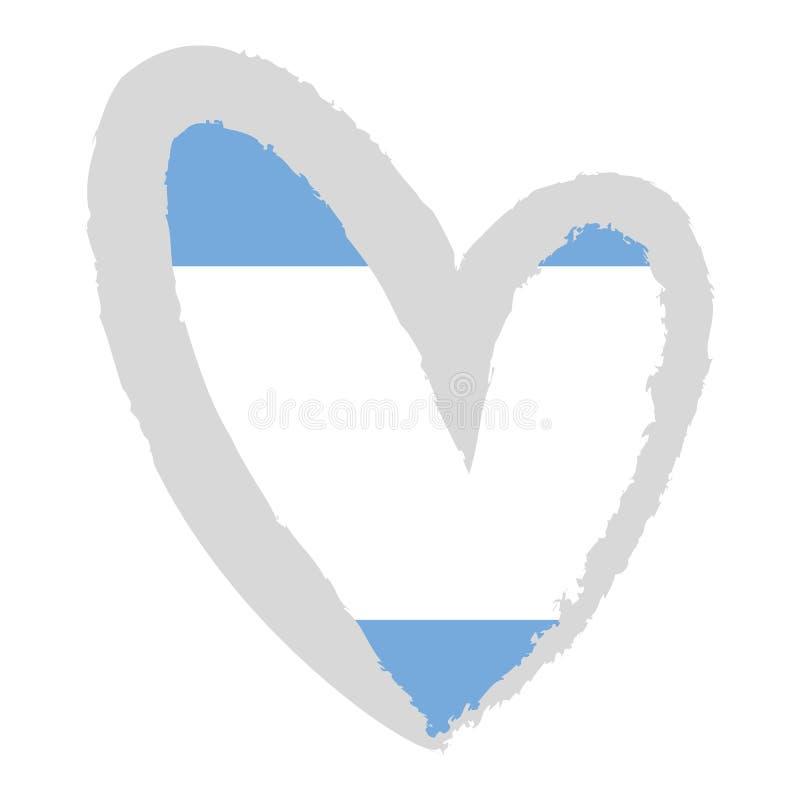 Bandeira de Argentina na forma do coração ilustração do vetor