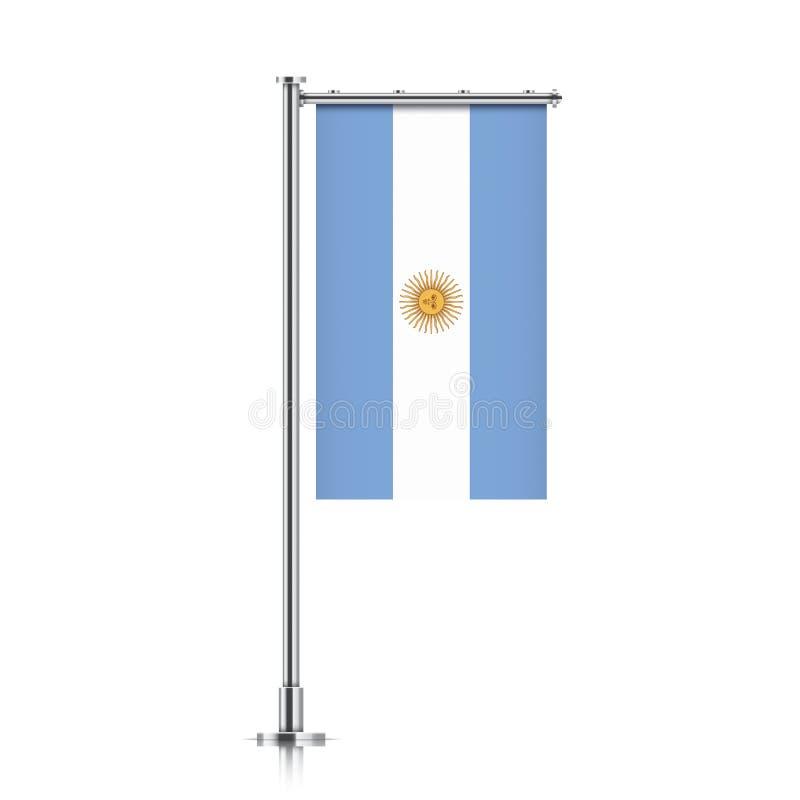 Bandeira de Argentina que pendura em um polo ilustração stock