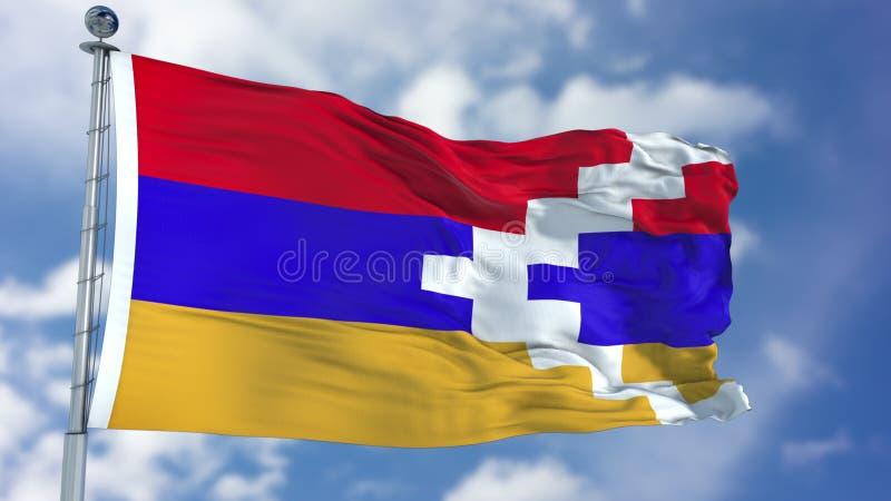 Bandeira de Artsakh da república em um céu azul fotografia de stock royalty free