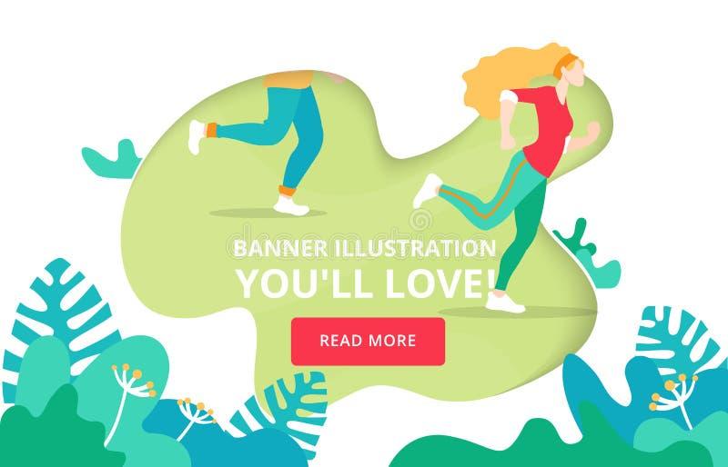 Bandeira de aterrissagem da página sobre o corredor, maratona da caridade Conceito urbano do Web site do estilo de vida do treina ilustração stock