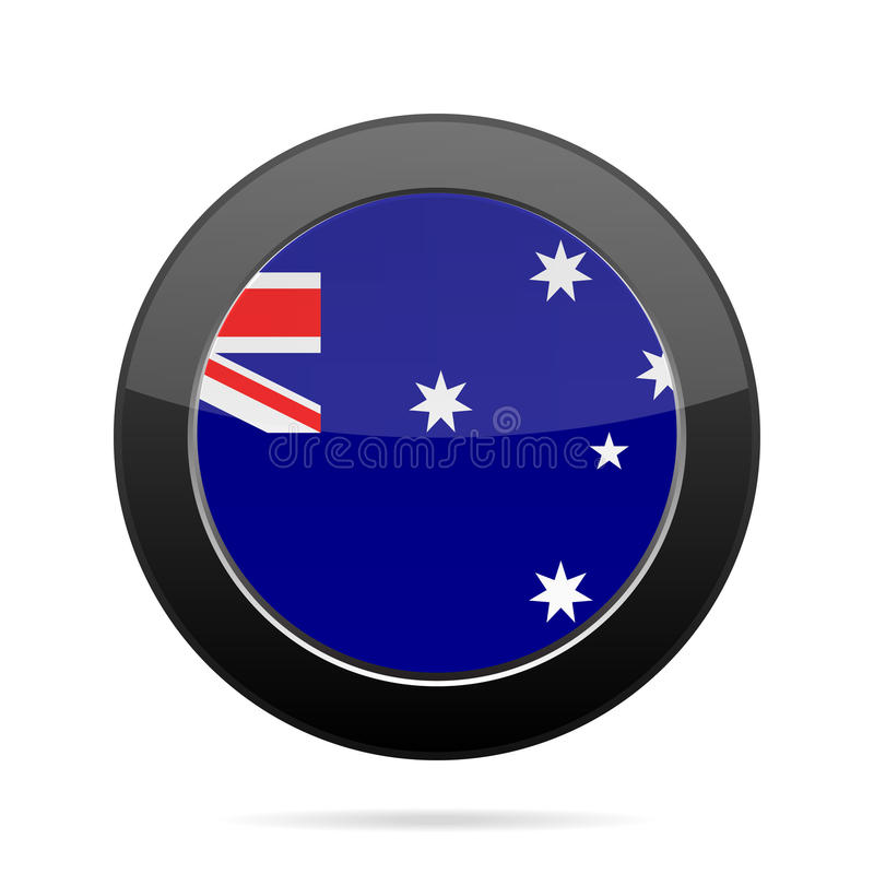 Bandeira de Austrália Botão redondo preto brilhante ilustração do vetor