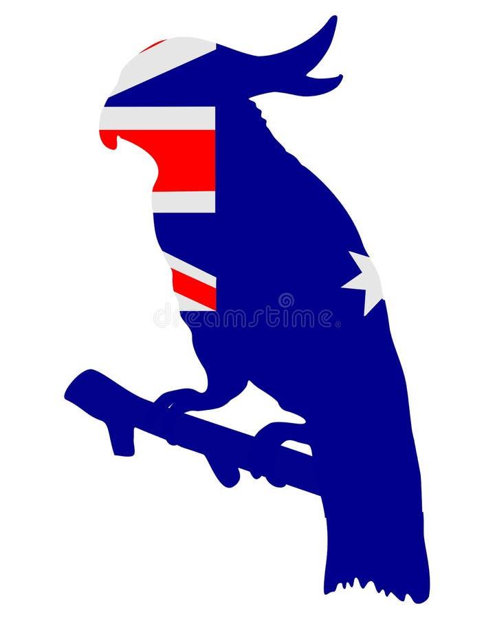 Bandeira de Austrália com cockatoo ilustração royalty free