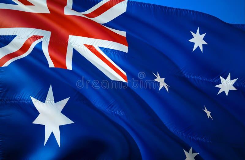 Bandeira de Austrália projeto de ondulação da bandeira 3D O símbolo nacional de Austrália, rendição 3D Projeto de ondulação do si imagens de stock