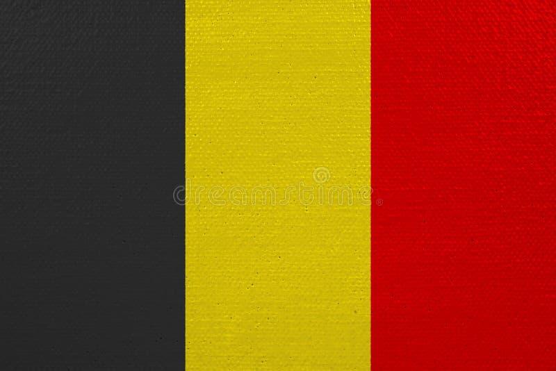 Bandeira de Bélgica na lona ilustração do vetor