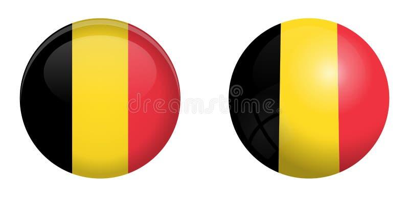 Bandeira de Bélgica sob o botão da abóbada 3d e na esfera/bola lustrosas ilustração stock