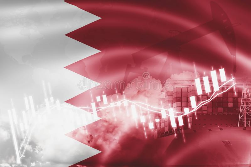 Bandeira de Barém, mercado de valores de ação, economia da troca e comércio, produção de petróleo, navio de recipiente na exporta ilustração stock