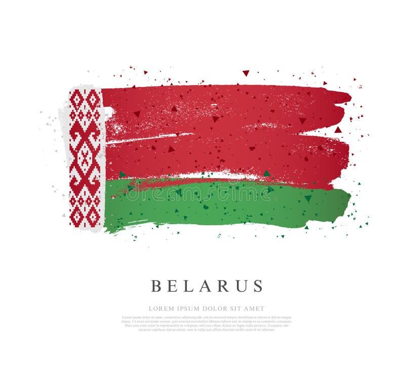Bandeira de Belarus Os cursos da escova são tirados à mão Fundo do grunge da independ?ncia Day ilustração royalty free