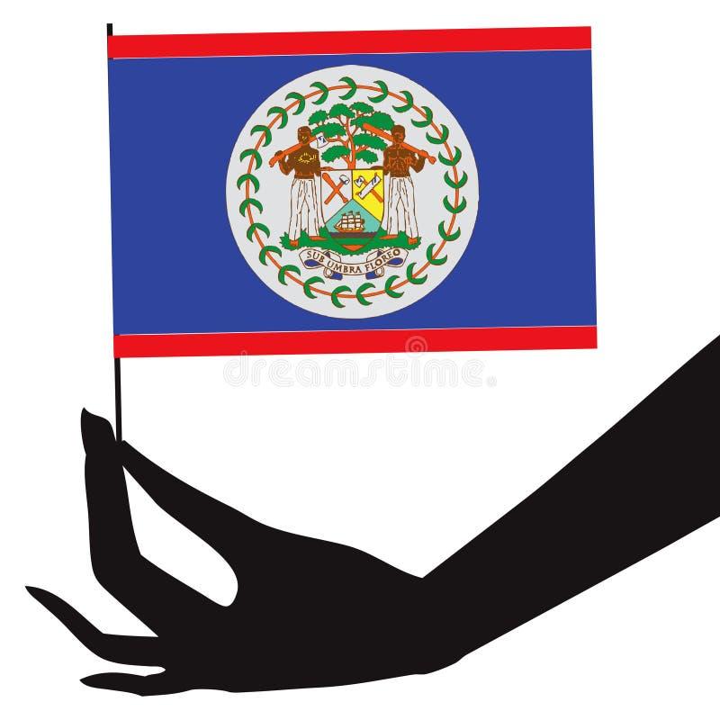 Bandeira de Belize em sua mão ilustração do vetor