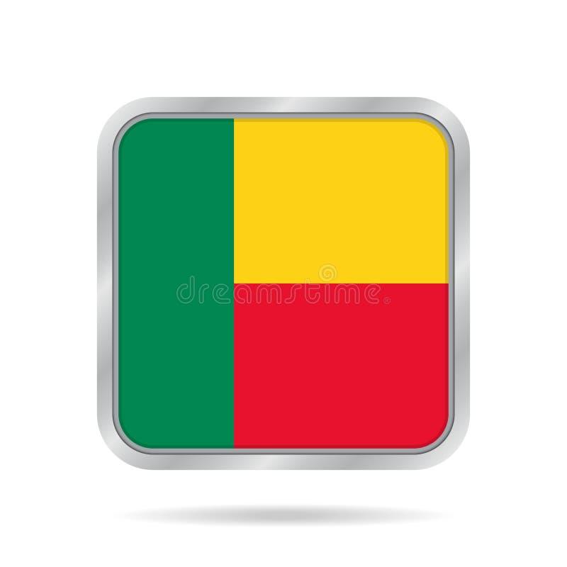 Bandeira de benin Botão quadrado cinzento metálico brilhante ilustração royalty free