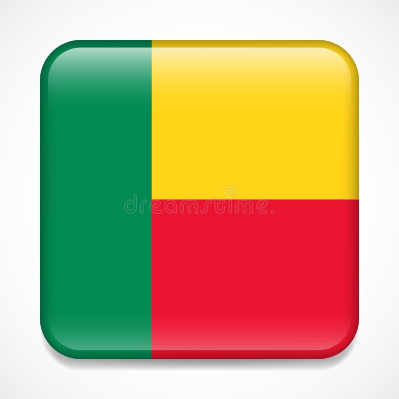 Bandeira de benin Crachá lustroso do quadrado ilustração stock