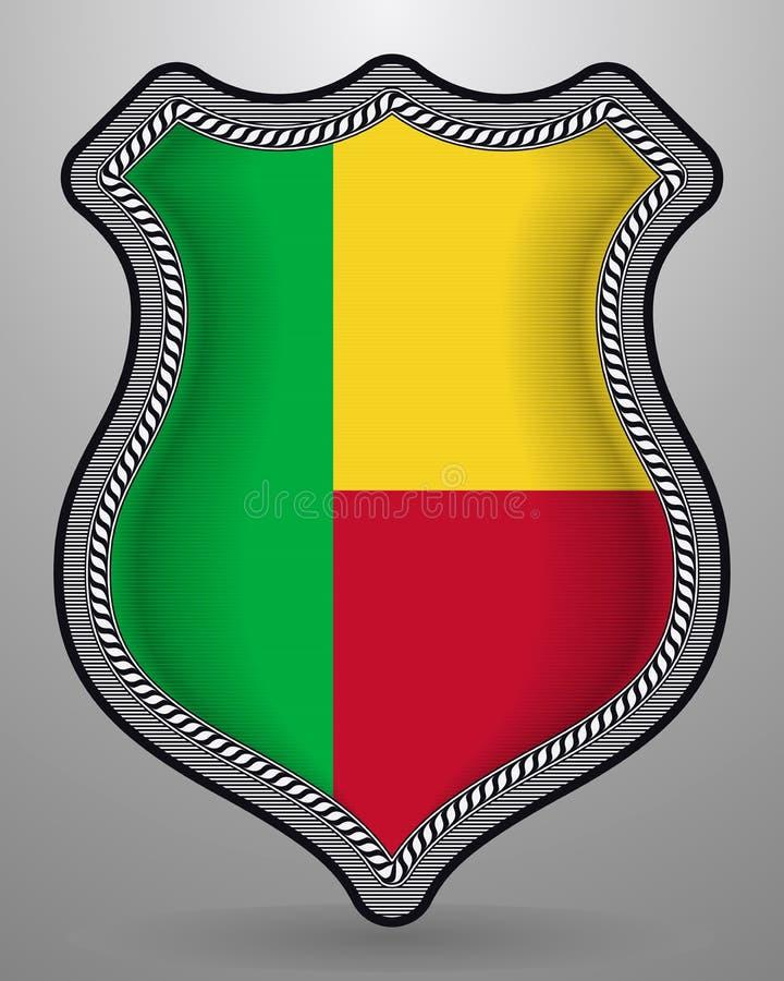 Bandeira de benin Crach? e ?cone do vetor Vers?o horizontal da orienta??o ilustração royalty free