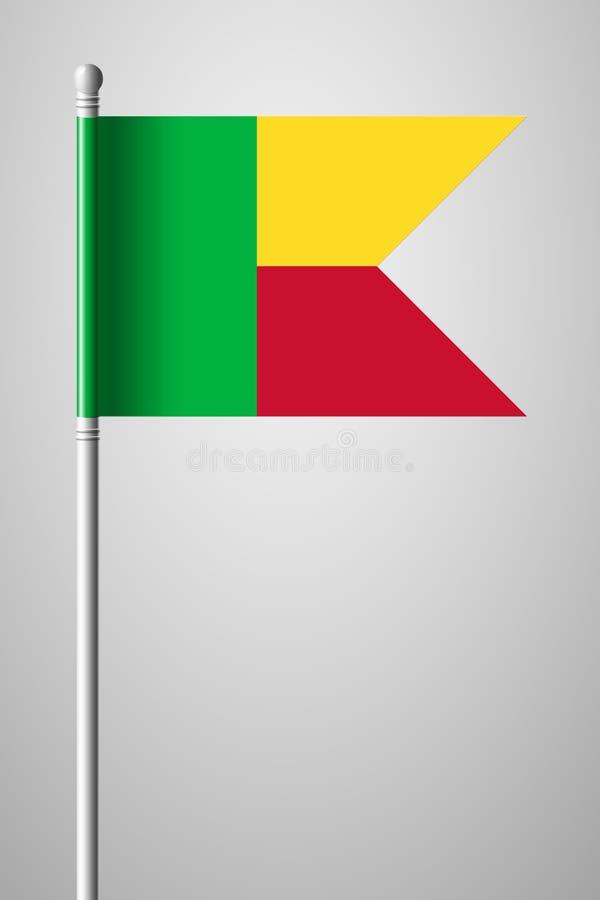 Bandeira de benin Bandeira nacional no mastro de bandeira Ilustra??o isolada no cinza ilustração stock