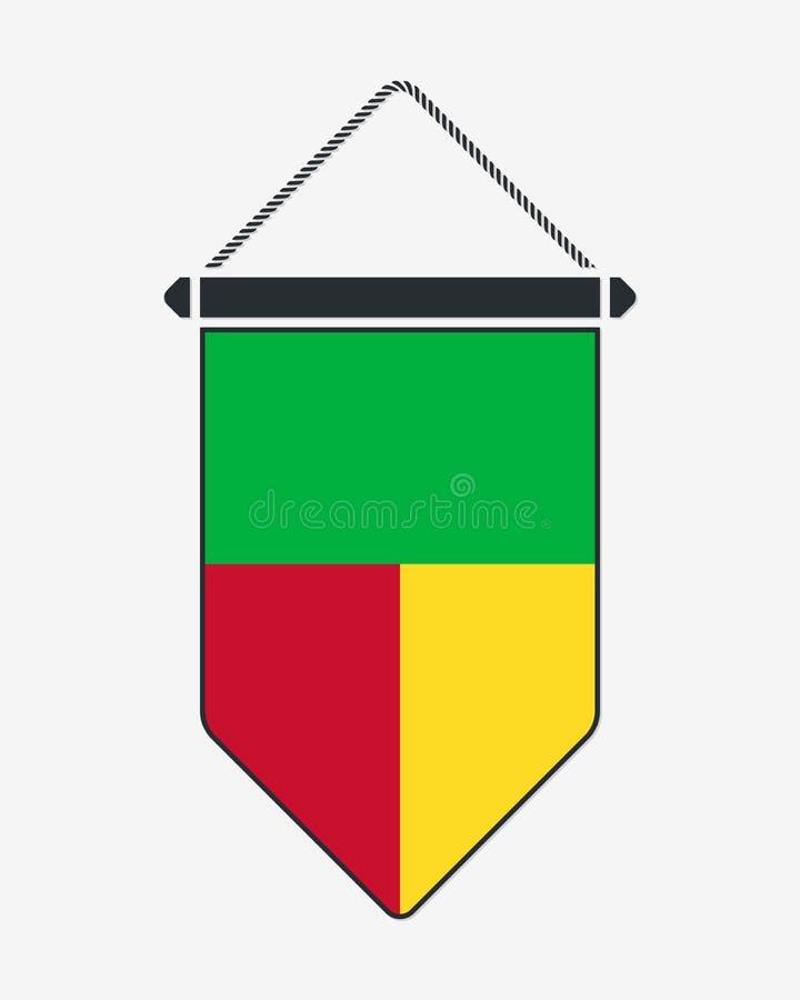 Bandeira de benin Sinal e ?cone do vetor Fl?mula vertical Isolado ilustração royalty free