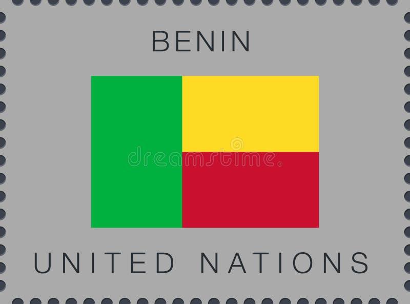Bandeira de benin Sinal e ?cone do vetor Selo postal ilustração royalty free