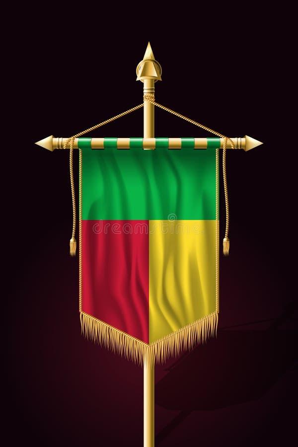 Bandeira de benin Bandeira vertical festiva Tape?arias com borla do ouro ilustração royalty free
