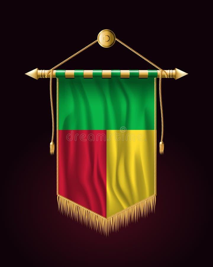 Bandeira de benin Bandeira vertical festiva Tape?arias com borla do ouro ilustração do vetor