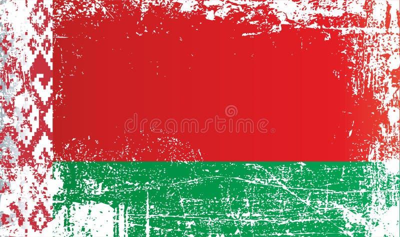 Bandeira de Bielorrússia, Republic of Belarus, pontos sujos enrugados ilustração royalty free