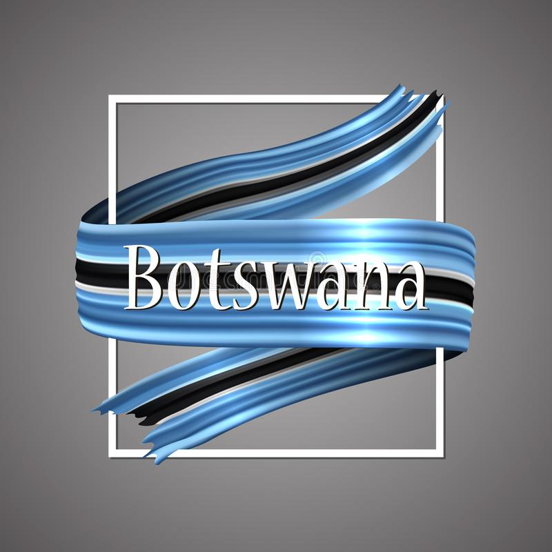 Bandeira de Botswana Cores nacionais oficiais Fita realística de Botswana 3d Sinal patriótico da listra da bandeira da glória do  ilustração do vetor