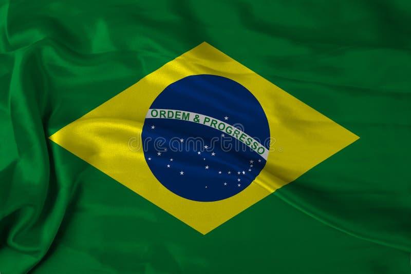 Bandeira de Brasil do cetim ilustração royalty free