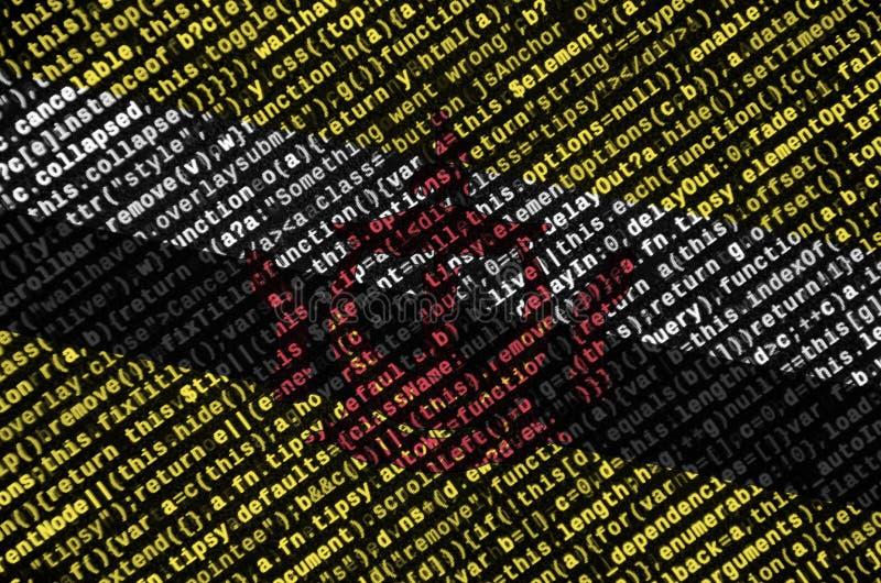 A bandeira de Brunei Darussalam Darussalam é descrita na tela com o código do programa O conceito do desenvolvimento moderno da t foto de stock
