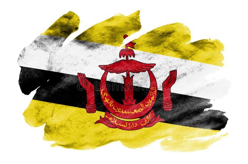 A bandeira de Brunei Darussalam Darussalam é descrita no estilo líquido da aquarela isolada no fundo branco fotos de stock royalty free