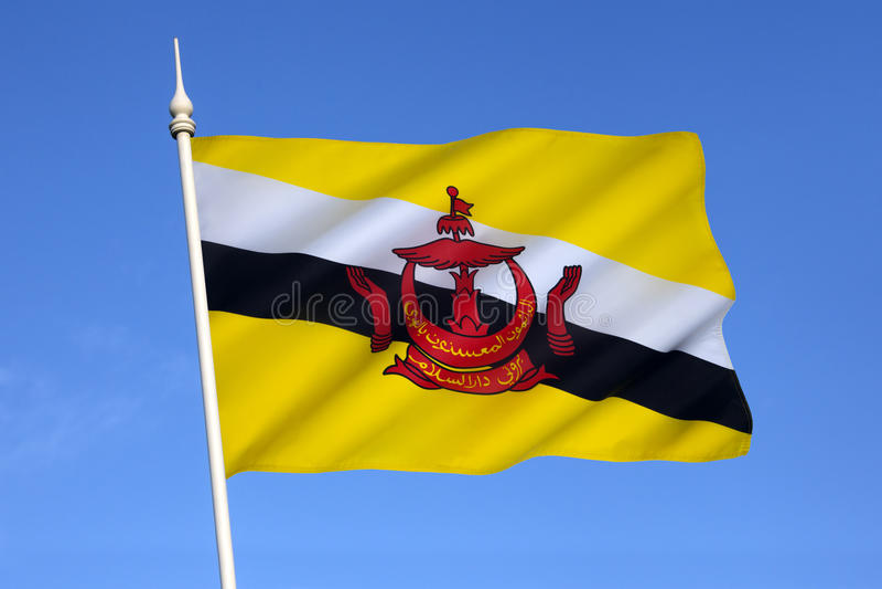 Bandeira de Brunei Darussalam - Bornéu imagens de stock royalty free