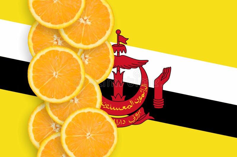 Bandeira de Brunei Darussalam Darussalam e fileira vertical das fatias dos citrinos foto de stock