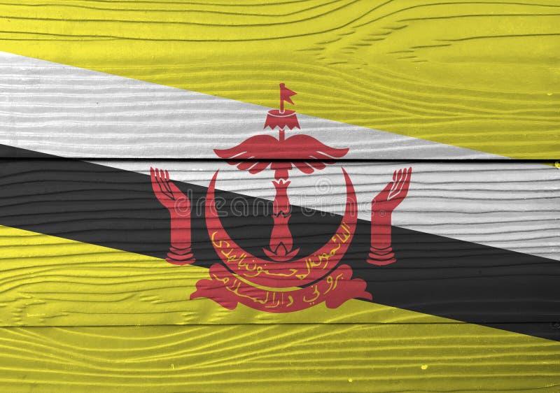 Bandeira de Brunei Darussalam Darussalam no fundo de madeira da parede Textura da bandeira de Brunei Darussalam do Grunge imagens de stock