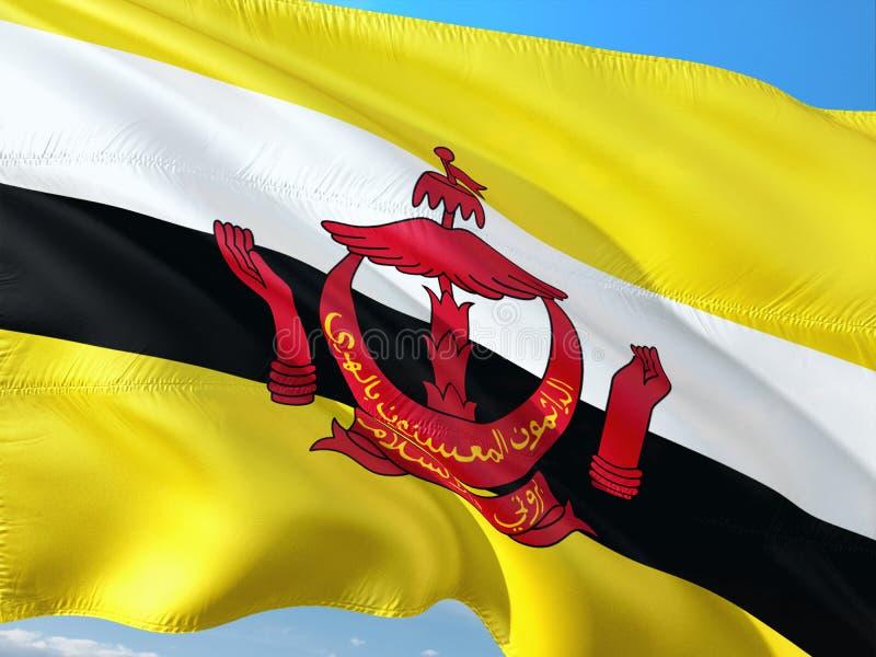 Bandeira de Brunei Darussalam que acena no vento contra o c?u azul profundo Tela de alta qualidade fotografia de stock