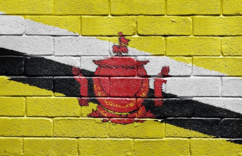 Bandeira de Brunei na parede de tijolo imagem de stock
