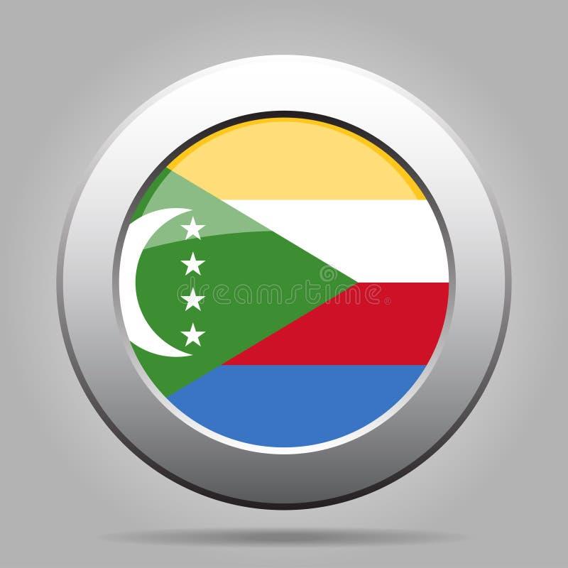 Bandeira de Cômoros Botão redondo cinzento do metal brilhante ilustração do vetor