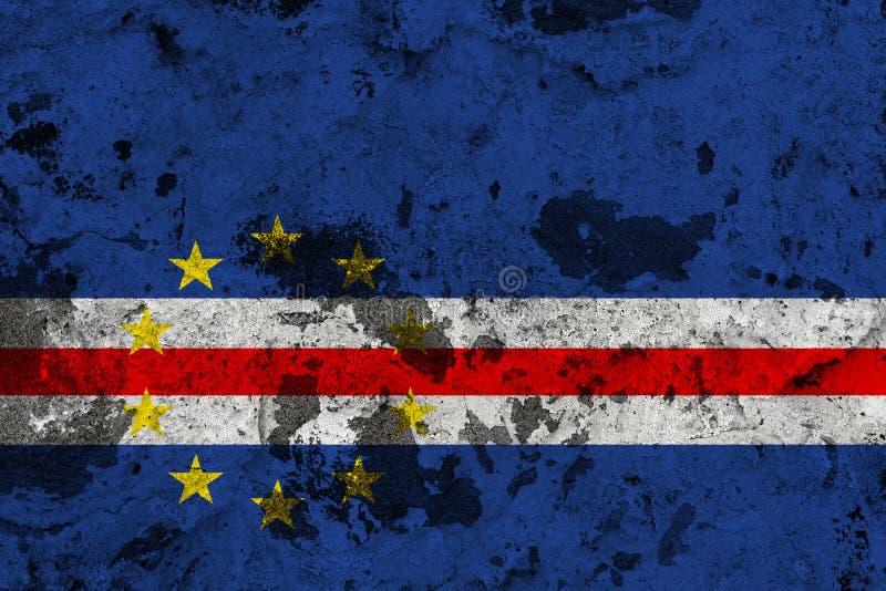 Bandeira de Cabo Verde na parede velha ilustração do vetor