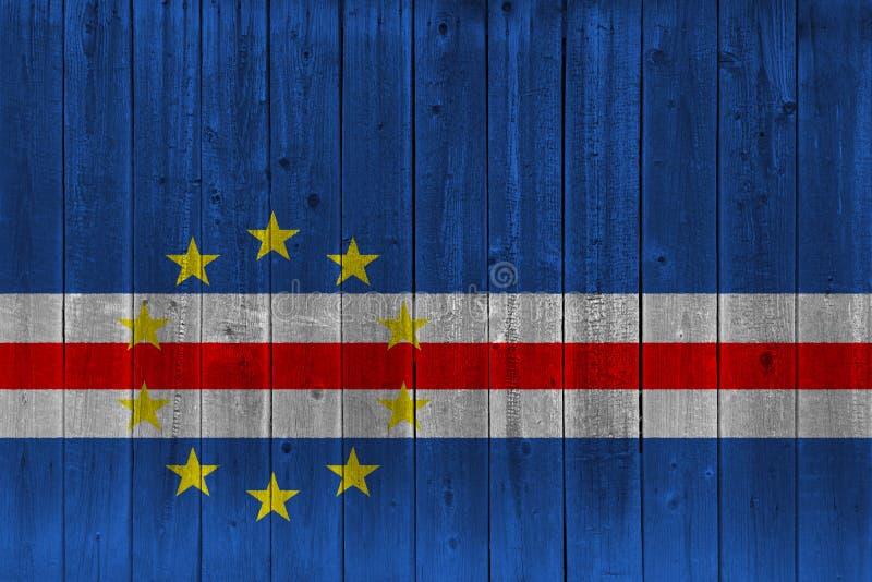 Bandeira de Cabo Verde pintada na prancha de madeira velha ilustração stock