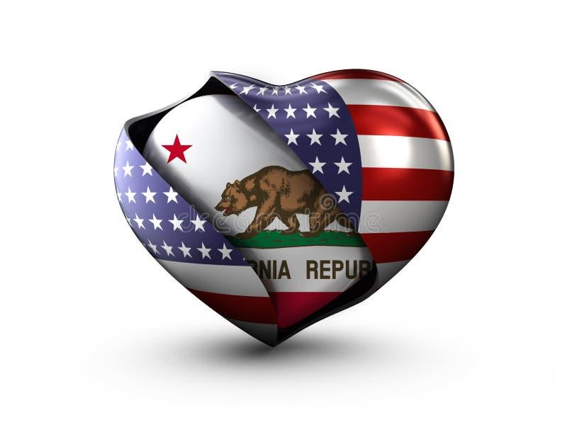 Bandeira de Califórnia do estado dos EUA no fundo branco ilustração royalty free