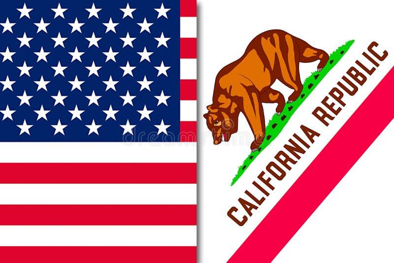 Bandeira de Califórnia e de E.U. ilustração stock