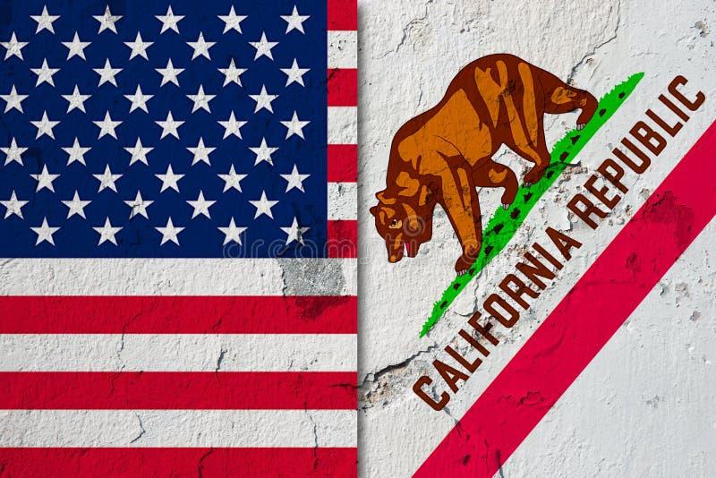 Bandeira de Califórnia e de E.U. ilustração royalty free